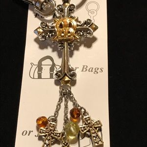 Ornate Cross Key Chain With Accent Beads